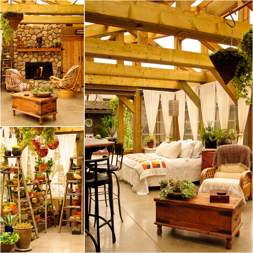 Patti Brisebois' Manitoba zone 3 garden. After years of dreaming and planning a three season sunroom, Patti's dream finally came true.