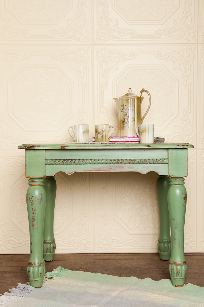 Painted with Miss Mustard Seed's milk paint in lucketts green - via My Painted Door (.com)