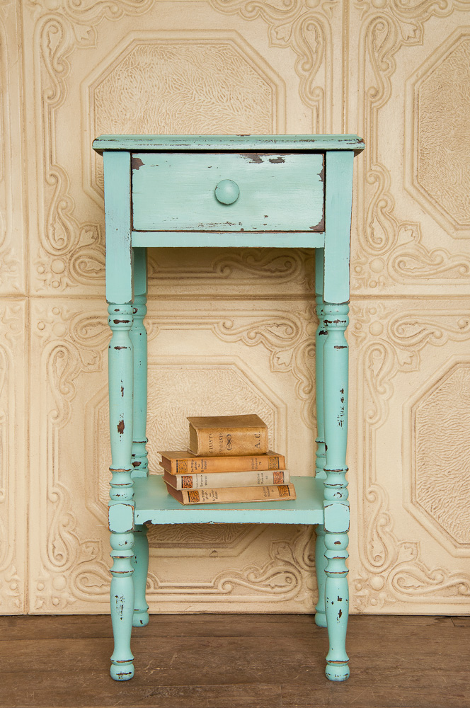 Painted with Miss Mustard Seed's milk paint in eulalie's sky - via My Painted Door (.com)