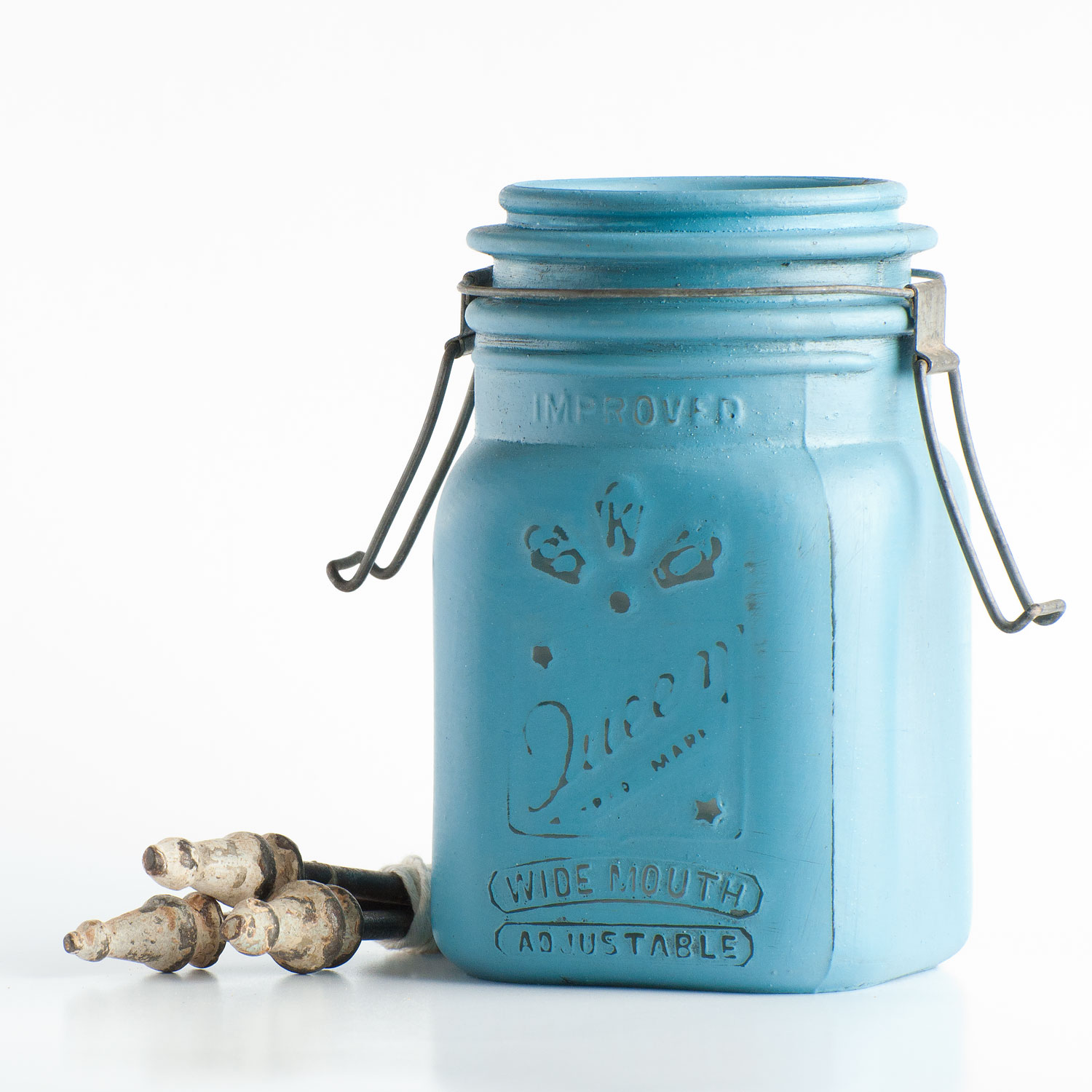mason jar painted with Miss Mustard Seed's milk paint in french enamel - via My Painted Door (.com)