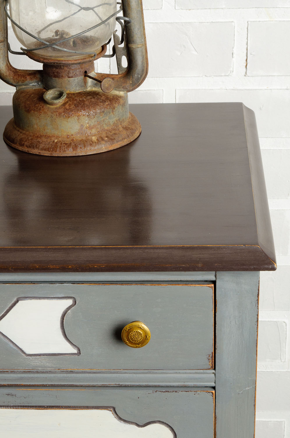 dresser painted in Miss Mustard Seed's Milk Paint using curio, trophy and ironstone - via My Painted Door (.com)