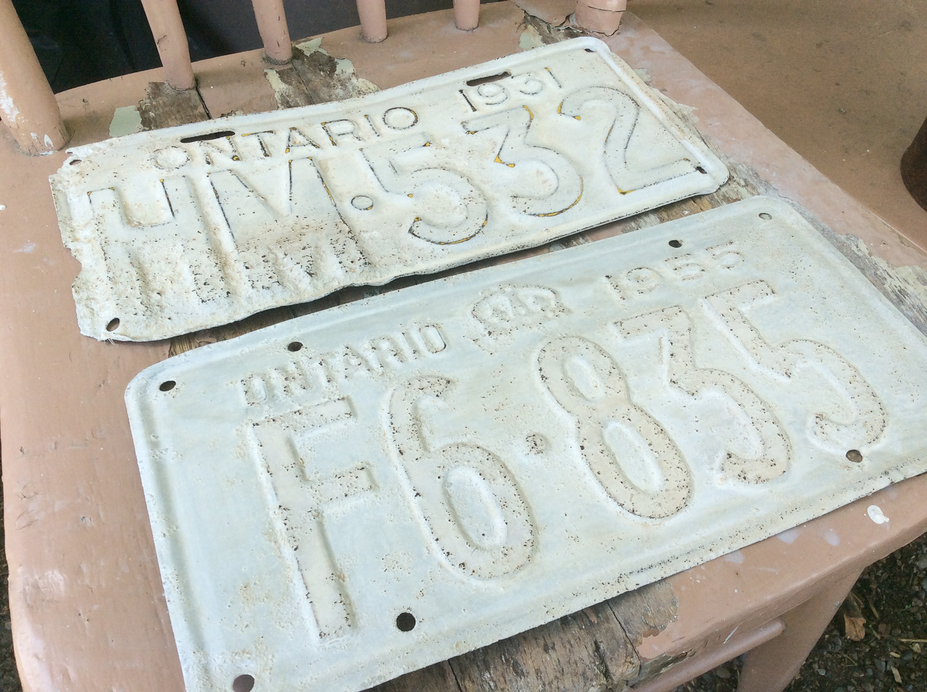 vintage licence plate painted with Miss Mustard Seed's Milk Paint via My Painted Door (.com)