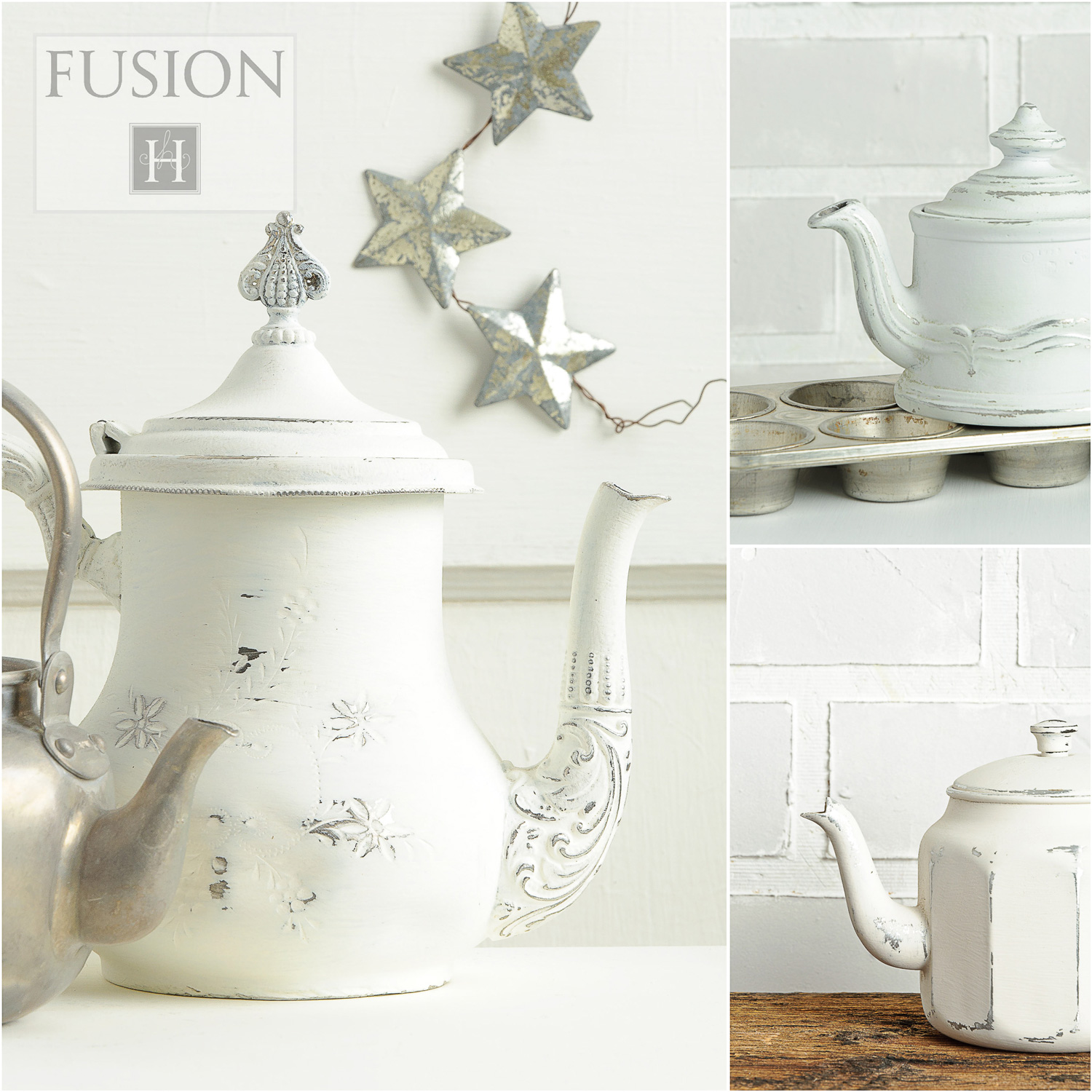 Teapots painted in Fusion mineral paint - via My Painted Door (.com)