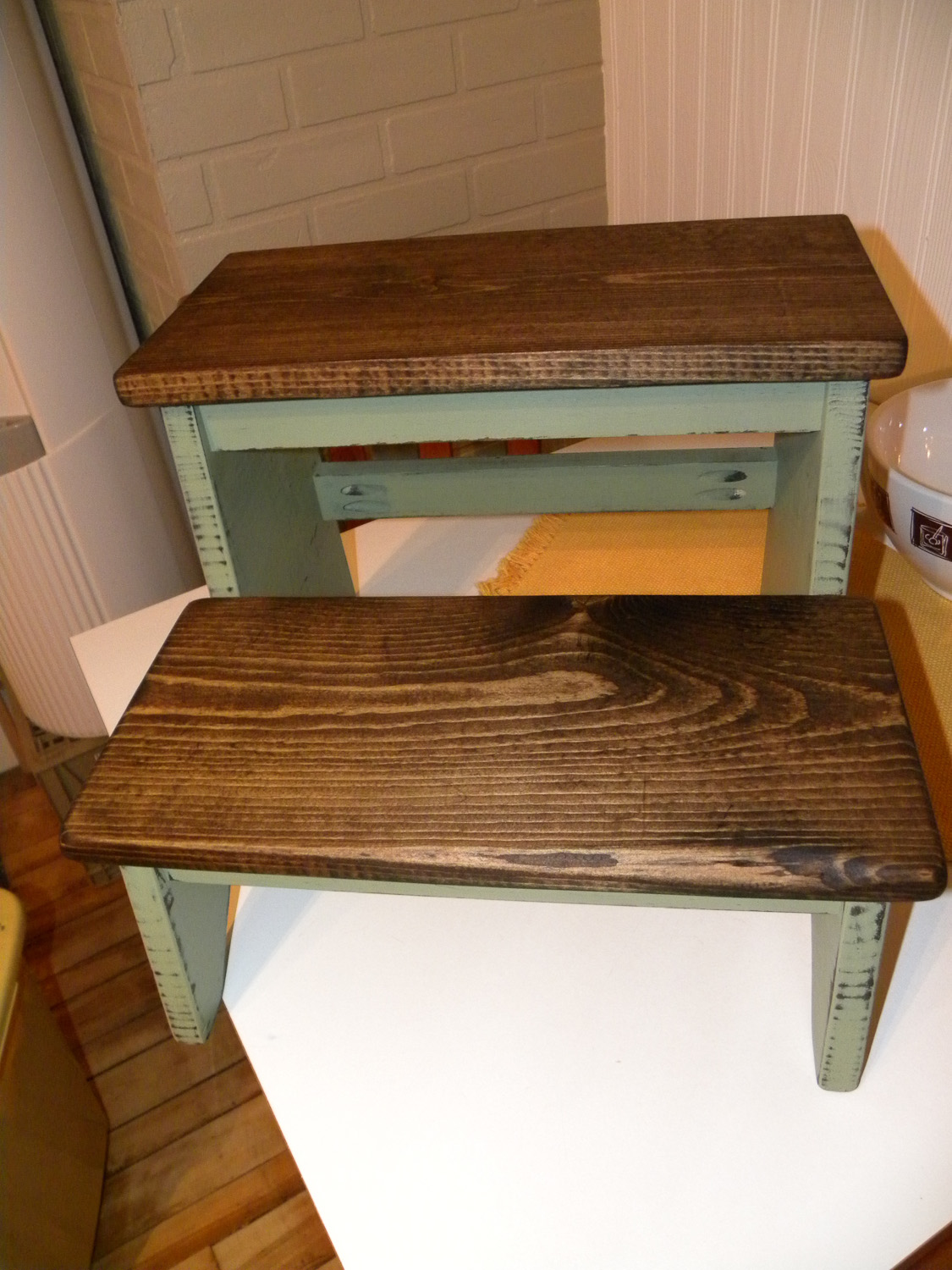 customer share - stool painted by Debbie Cadene using Miss Mustard Seed's milk paint in tricycle and ironstone - via My Painted Door