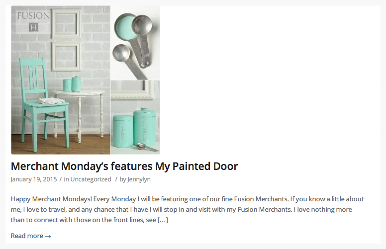 My Painted Door is the first featured merchant on Fusion mineral paint's blog.