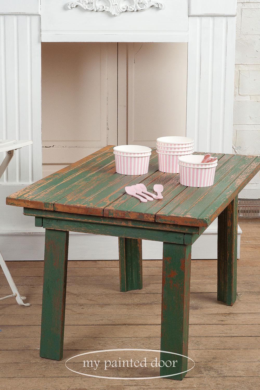 table painted with Homestead House milk paint in waterloo green - via My Painted Door (.com)