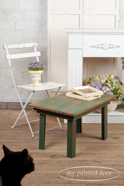 blooper photos - table painted with Homestead House milk paint in waterloo green - via My Painted Door (.com)