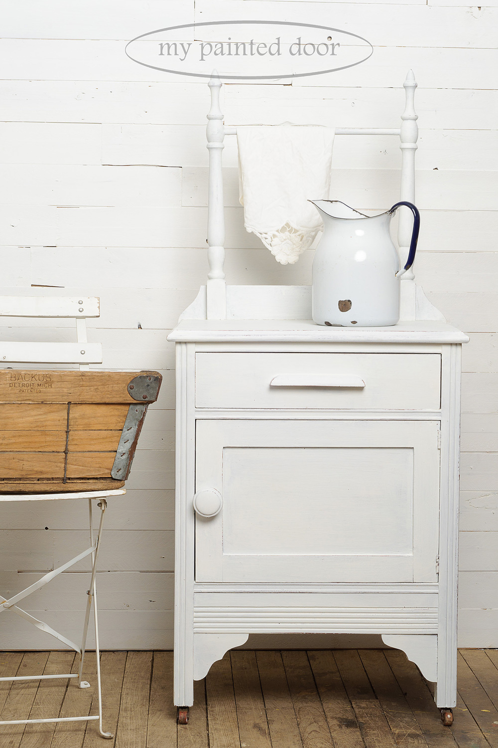 Washstand painted in Miss Mustard Seed's milk paint in Ironstone - via My Painted Door (.com)