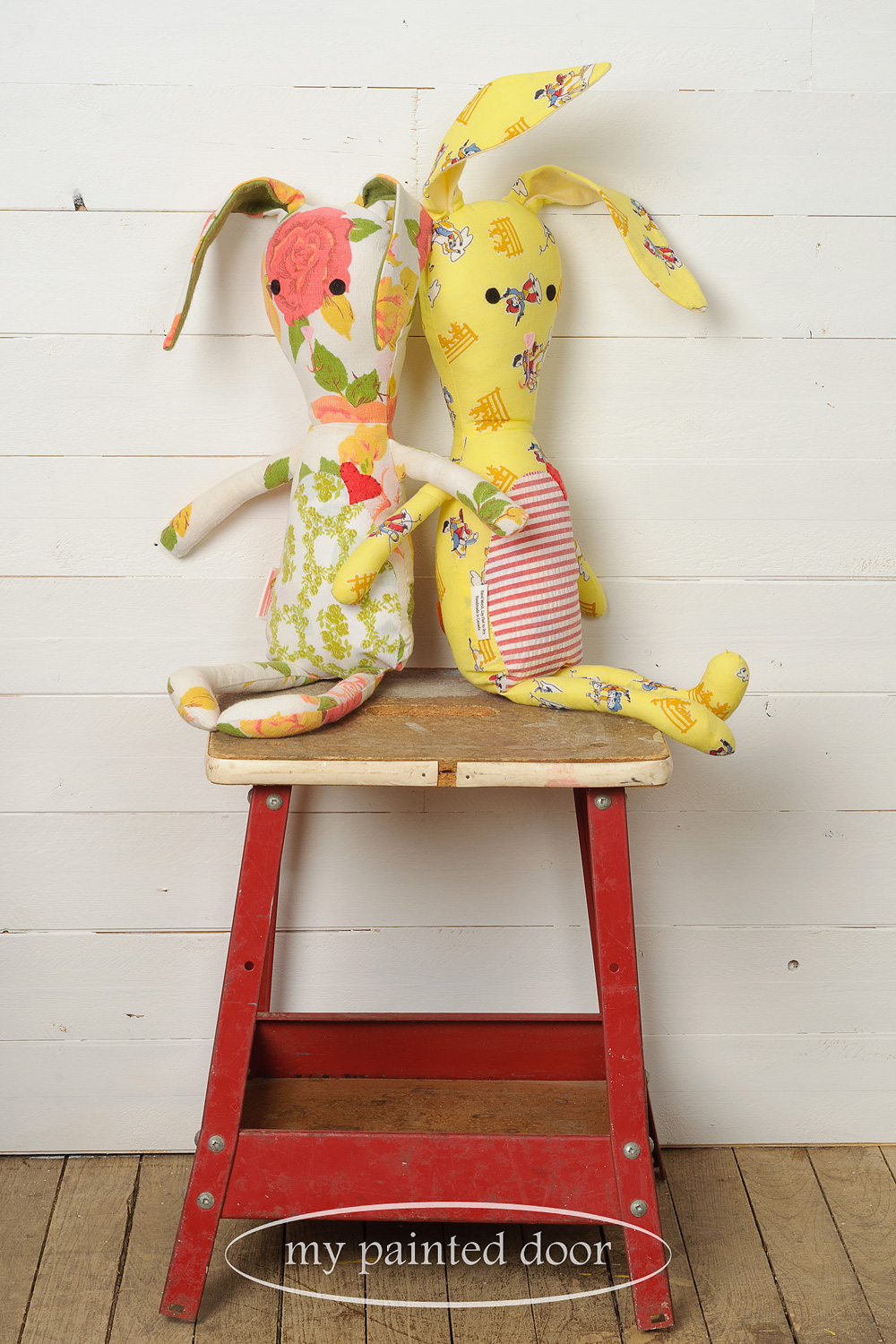 Bunnies made with vintage fabric by  Sew Whimsical by Katie  - via My Painted Door (.com)