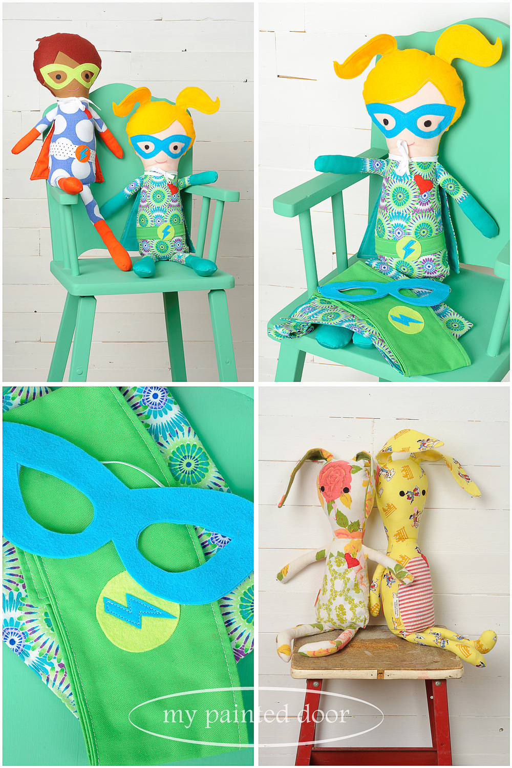 Chair painted in Fusion Mineral Paint in the colour Ceramic and dolls by  Sew Whimsical by Katie  - via My Painted Door (.com)