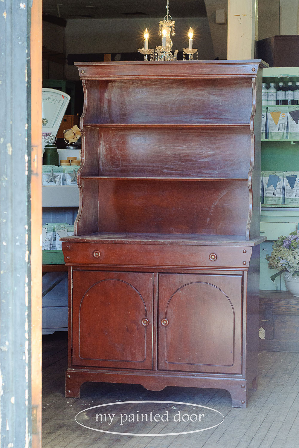 Before photo - cabinet painted in Penney & Co. Collection of Fusion Mineral Paint in the colour Lily Pond