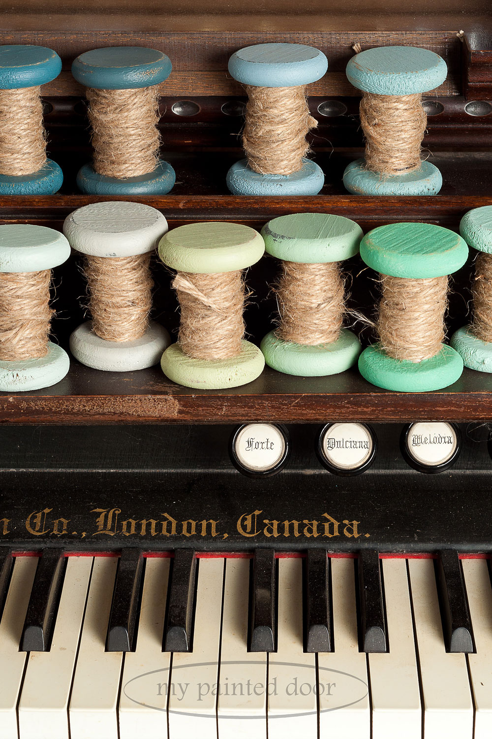 Wooden spools painted in Fusion Mineral Paint