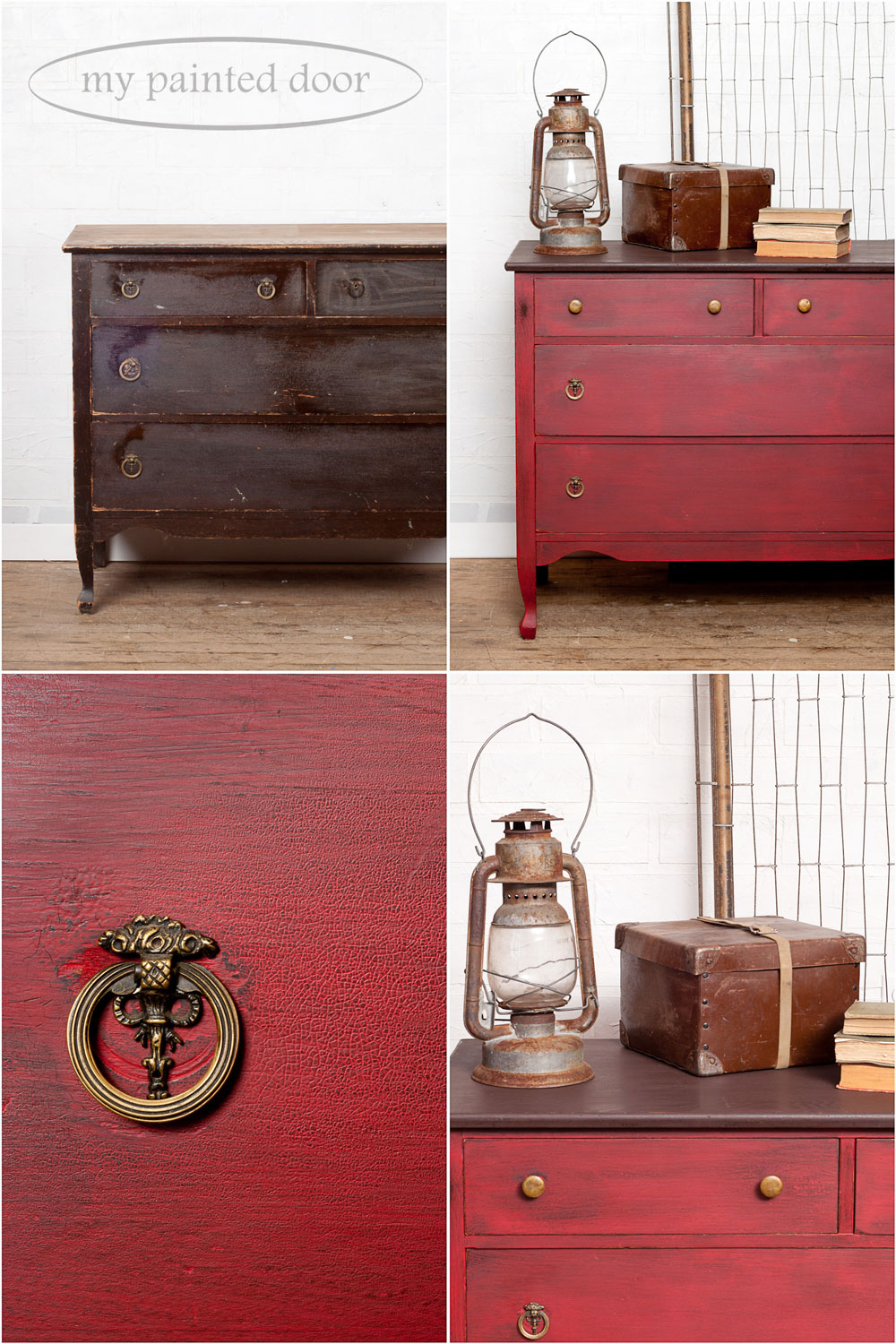 Before and after photos - Dresser painted in Miss Mustard Seed's Milk Paint in Tricycle