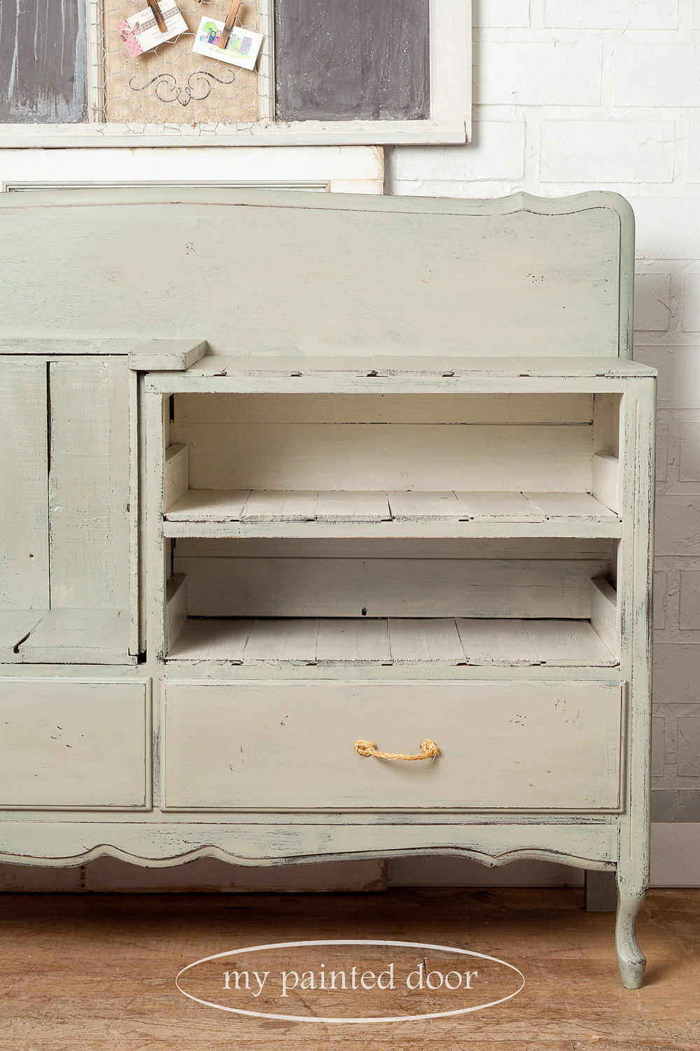 Habitat for Humanity Upcycle Challenge - dresser turned into a bench and painted with Homestead House Milk Paint