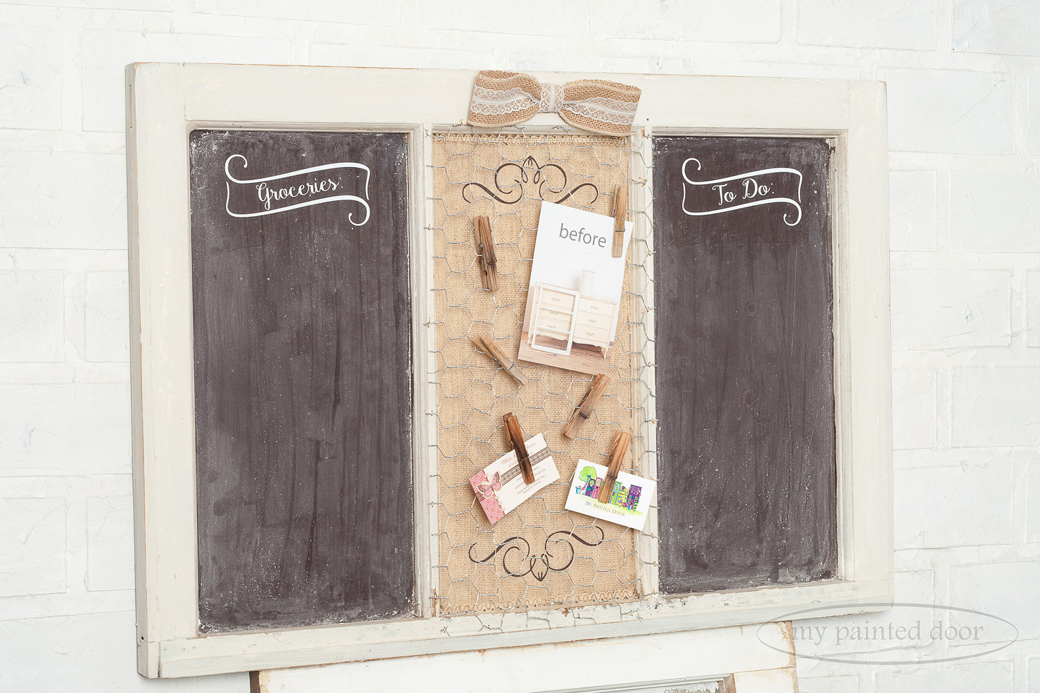 Habitat for Humanity Upcycle Challenge - old window made into a chalkboard and painted with Miss Mustard Seed's milk paint.