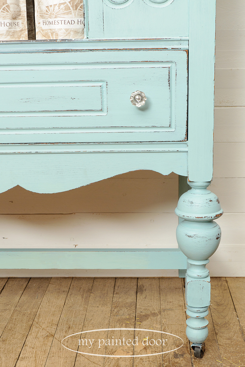 Hutch painted in Homestead House Milk Paint in Loyalist and Champlain.