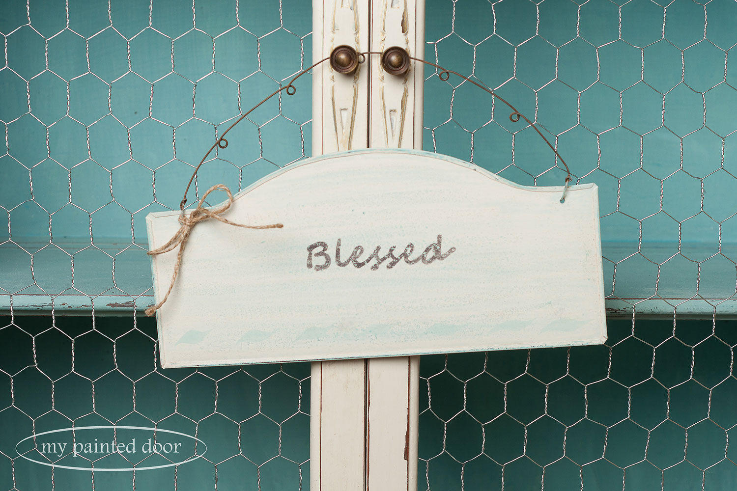 Sign painted in Miss Mustard Seed's Milk Paint in Eulalie's Sky and Marzipan