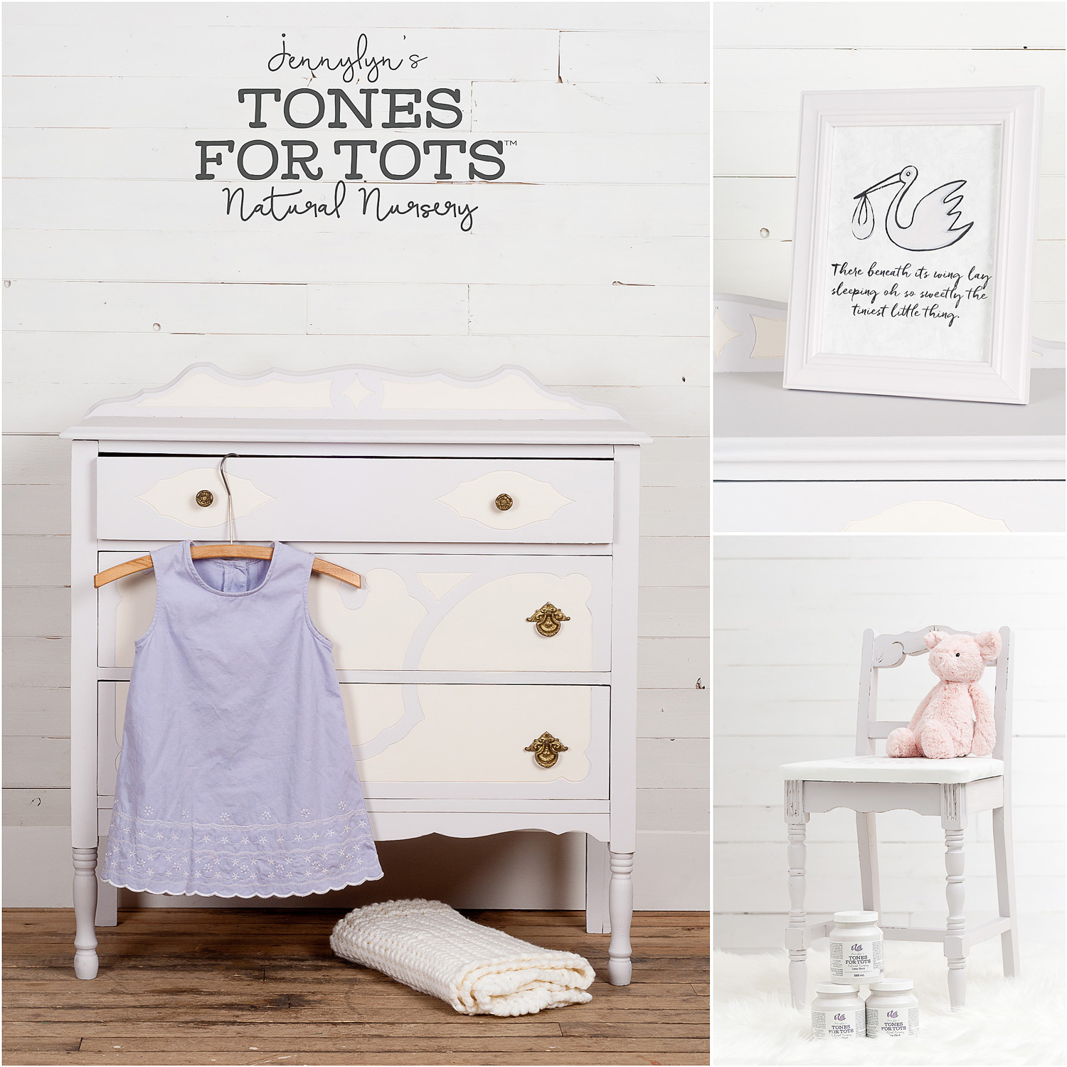 Dresser and Chair Painted in Little Stork Fusion Mineral Paint