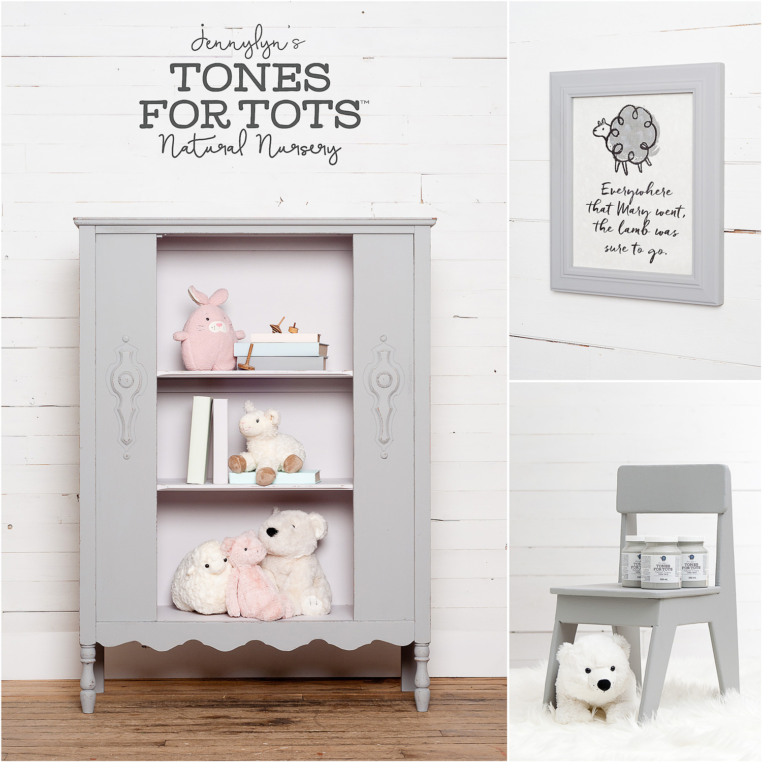 Hutch and Chair Painted in Little Lamb Fusion Mineral Paint
