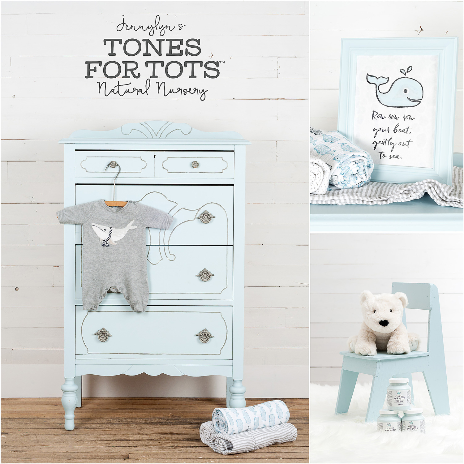 Dresser and Chair Painted in Fusion Mineral Paint Little Whale
