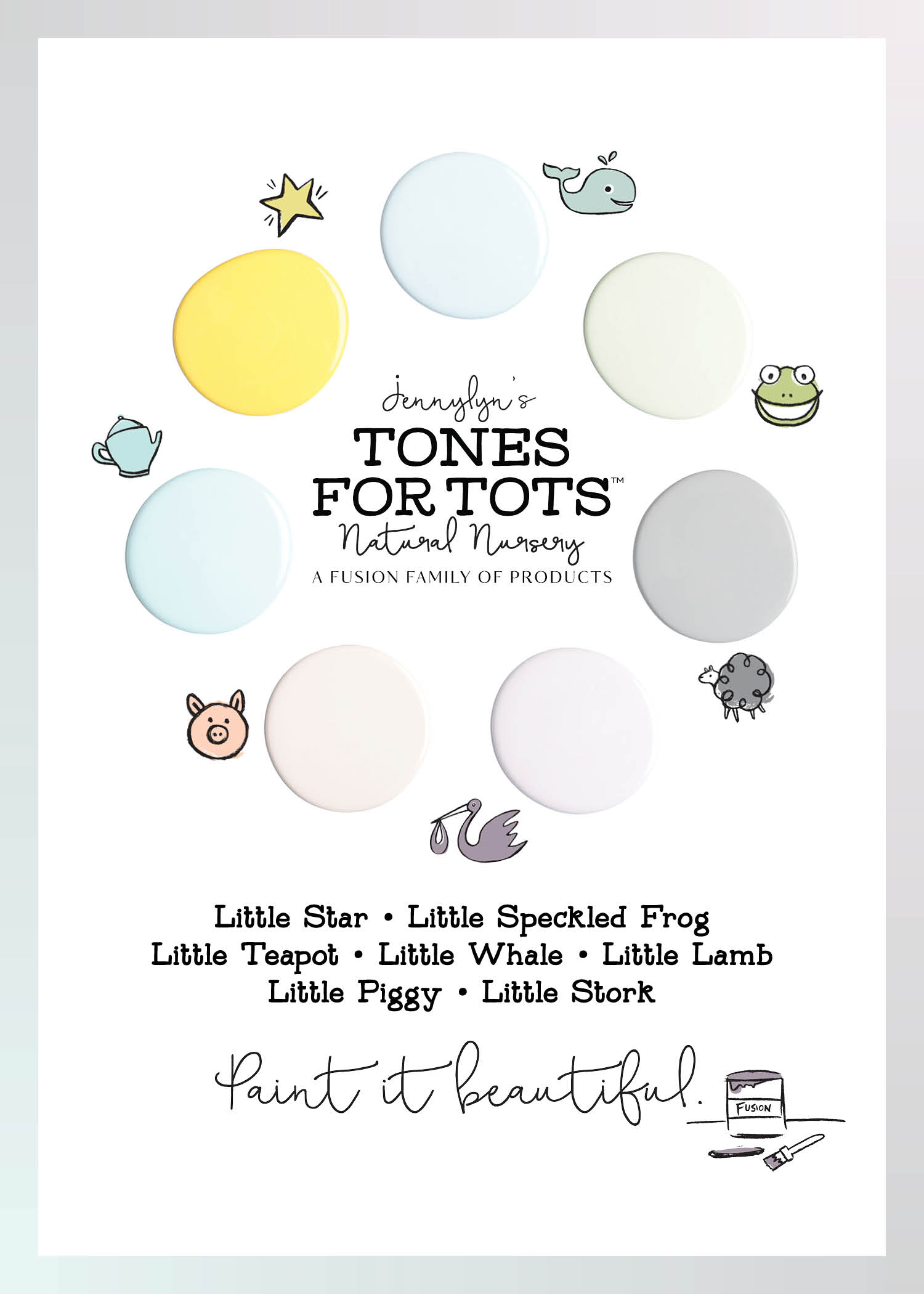 Jennylyn's Tones for Tots Natural Nursery. 7 gorgeous colours to choose from!