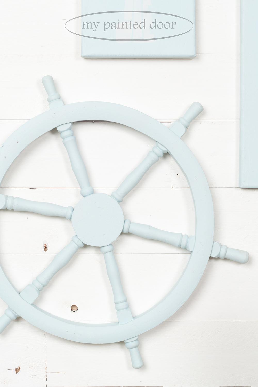 Boat steering wheel painted in Jennylyn's Tones for Tots Little Whale