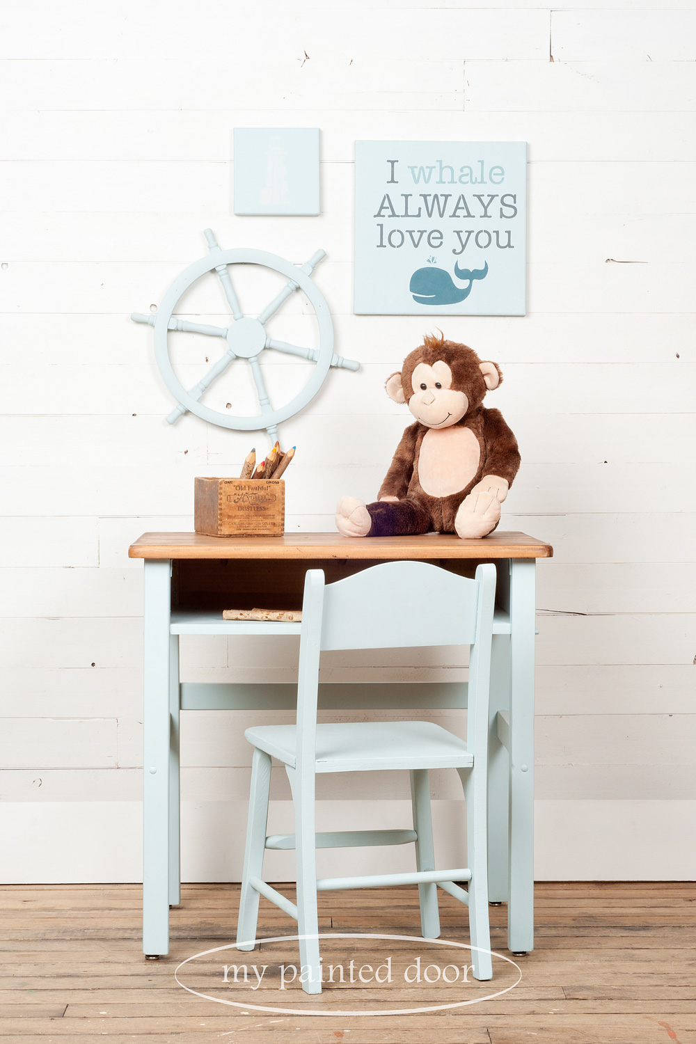 Children's desk, chair and more painted in Jennylyn's Tones for Tots Little Whale. Stencil is from the Tones for Tots Stencil Collection.