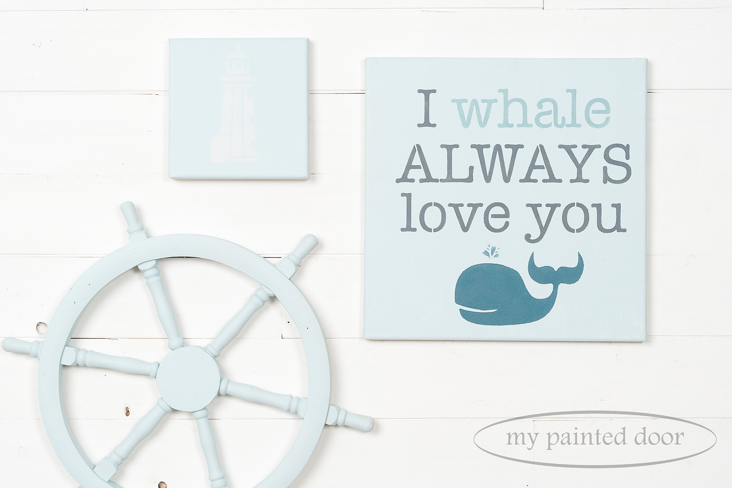 Boat steering wheel and canvasses painted in Jennylyn's Tones for Tots Little Whale. The stencils are from the Tones for Tots Stencil Collection.