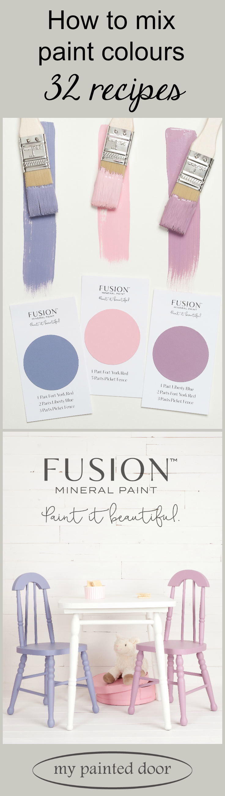 These little chairs and hat box were painted by mixing custom colours of Fusion Mineral Paint. Fusion offers 32 recipes that make mixing your own custom colours very simple!