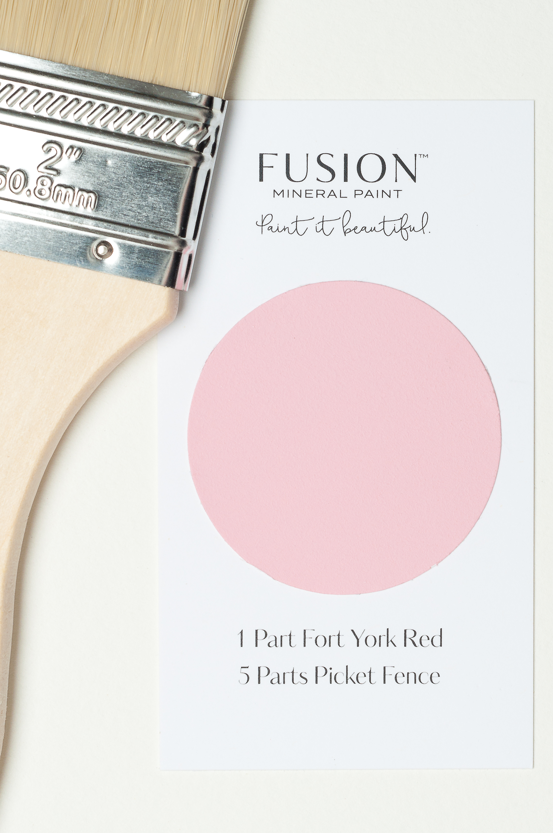 By using a simple recipe, it is easy to mix your own custom colours of Fusion Mineral Paint. A mixture of Fort York Red and Picket Fence makes this lovely pink colour.
