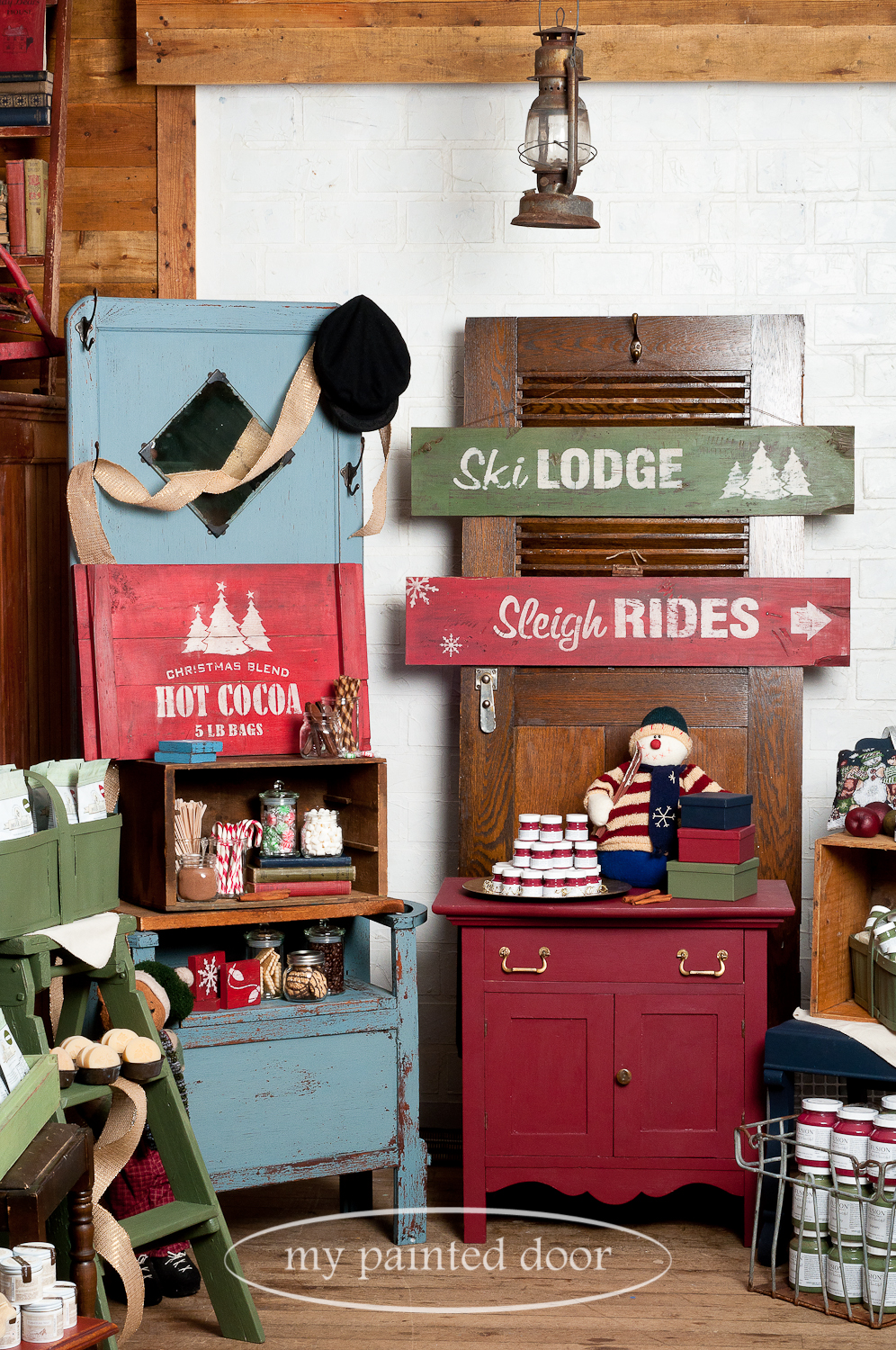 My Painted Door is offering Christmas Sign Workshops using Miss Mustard Seed's Milk Paint. Our workshops will teach you tons of tips and techniques on how to take new wood and create an authentic looking vintage sign by distressing, layering colours and more.