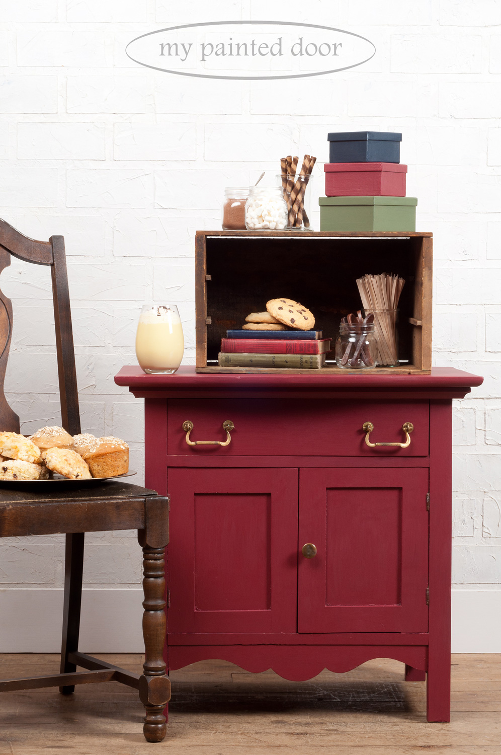 Washstand painted in Fusion Mineral Paint. The colour is Cranberry.