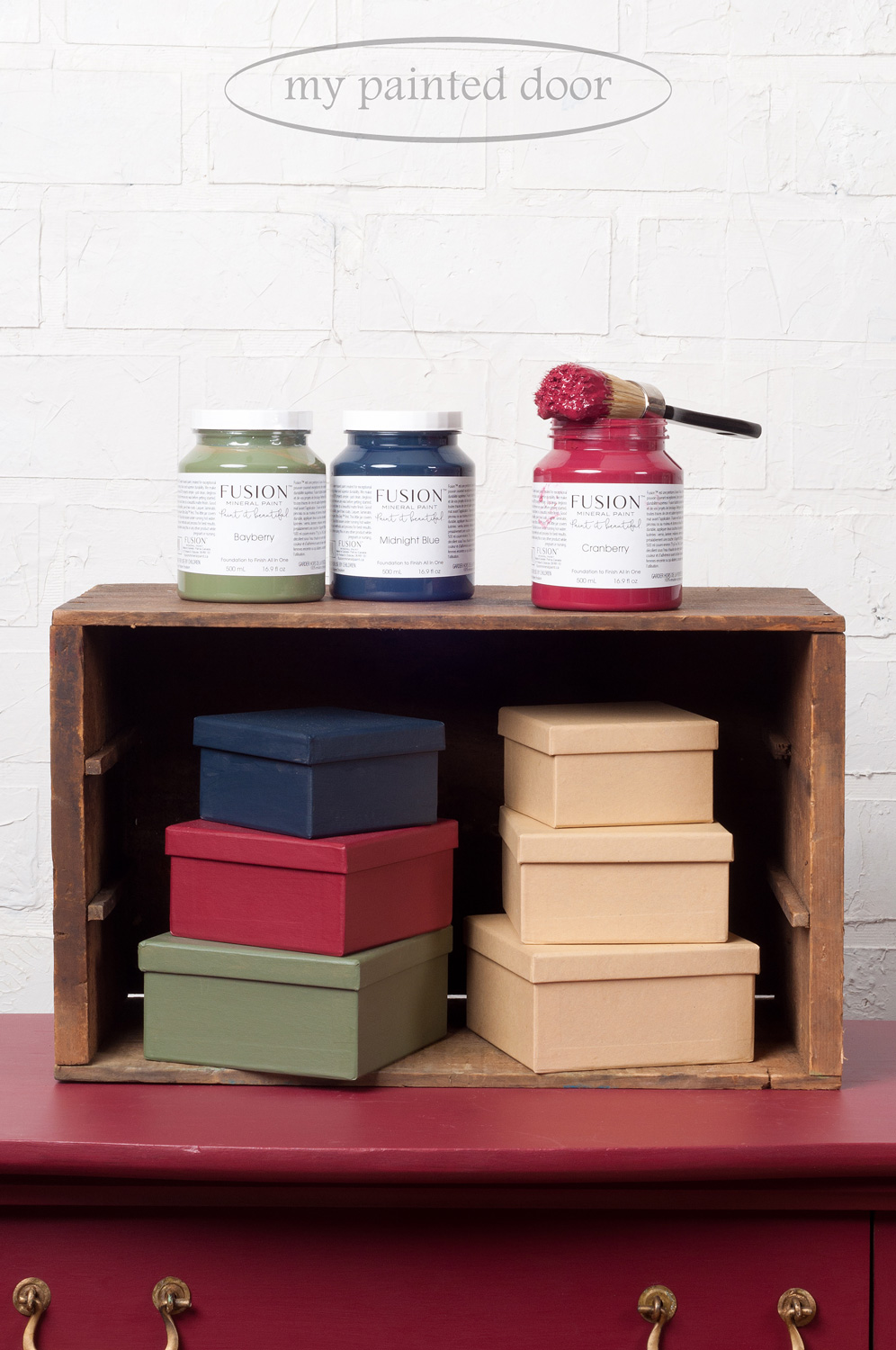 Paper mache boxes painted in Fusion Mineral Paint. Colours are Cranberry, Midnight Blue and Bayberry.