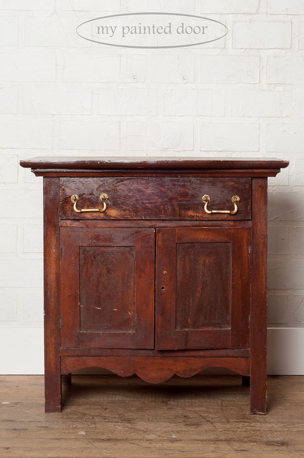 Before photo of a washstand painted in the colour Cranberry - Fusion Mineral Paint