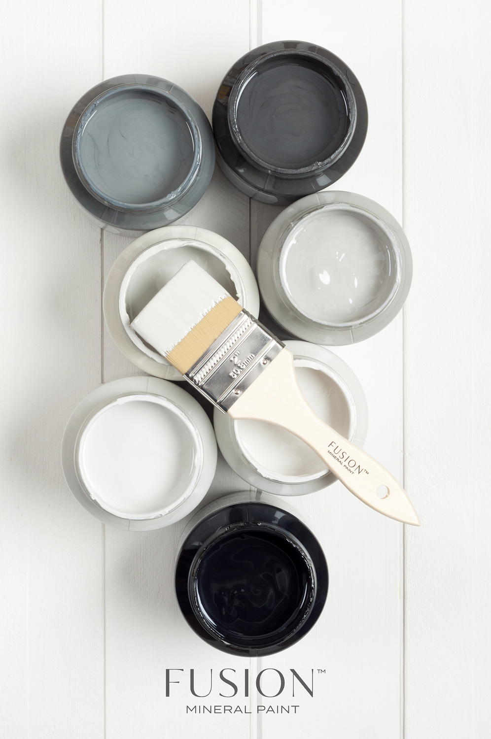 Fusion Mineral Paint in the colours Soap Stone, Ash, Sterling, Little Lamb, Lamp white, Pebble and Coal Black
