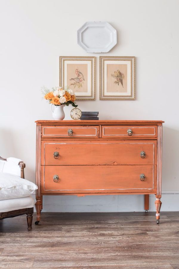 Dresser painted in Outback Petticoat Miss Mustard Seed's Milk Paint - available at My Painted Door