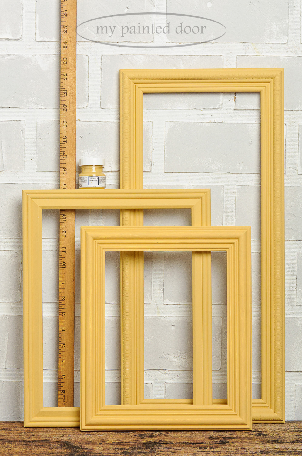 How far does one tester size bottle of Fusion Mineral Paint go? Frames are painted in Prairie Sunset.
