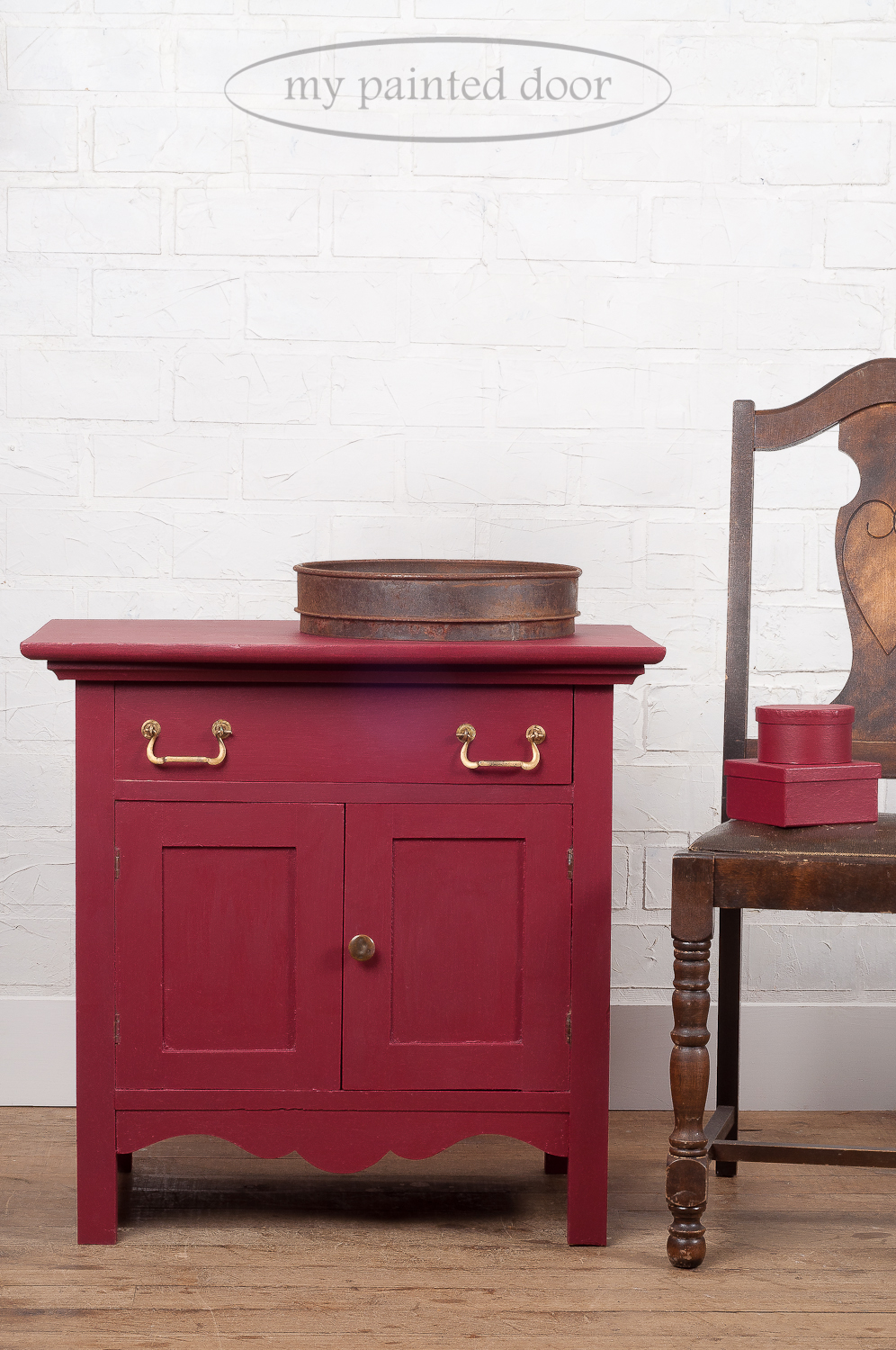 Washstand painted in Cranberry Fusion Mineral Paint colour. Cranberry is a natural luscious burgundy red reminiscent of cranberries.