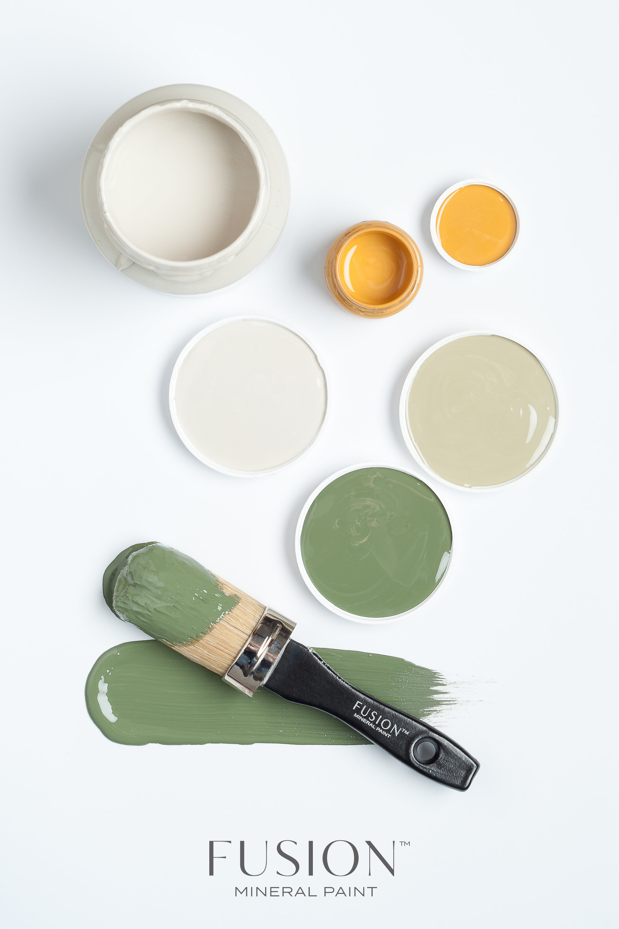 I guess I would best describe these Fusion Mineral Paint colours as earth tones. The yellow is called Mustard. Below Mustard to the left is Putty and to the right is Lichen. The green is Bayberry.