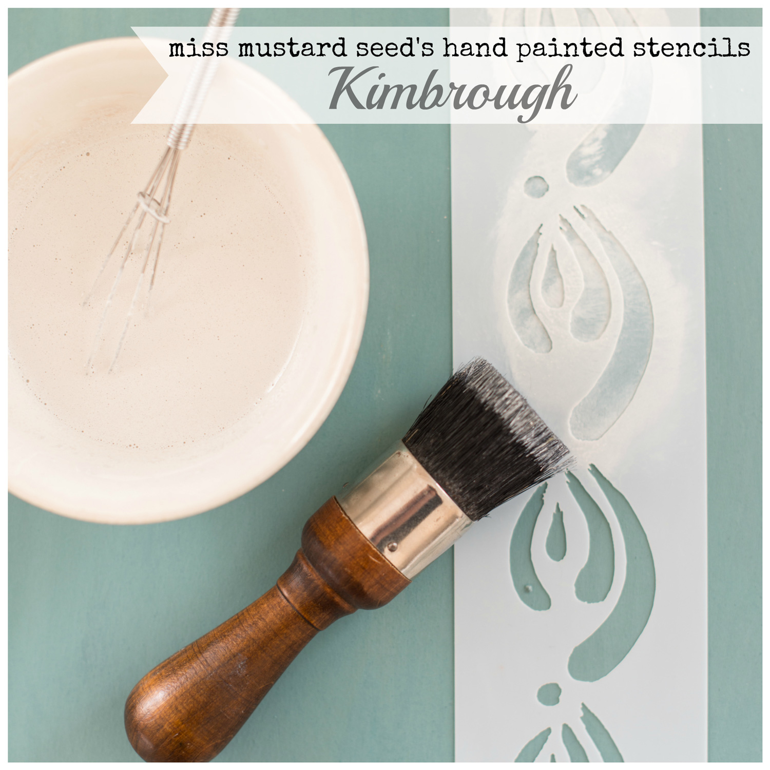 Miss Mustard Seed's hand painted stencils are available at My Painted Door. This stencil is the Kimbrough design.