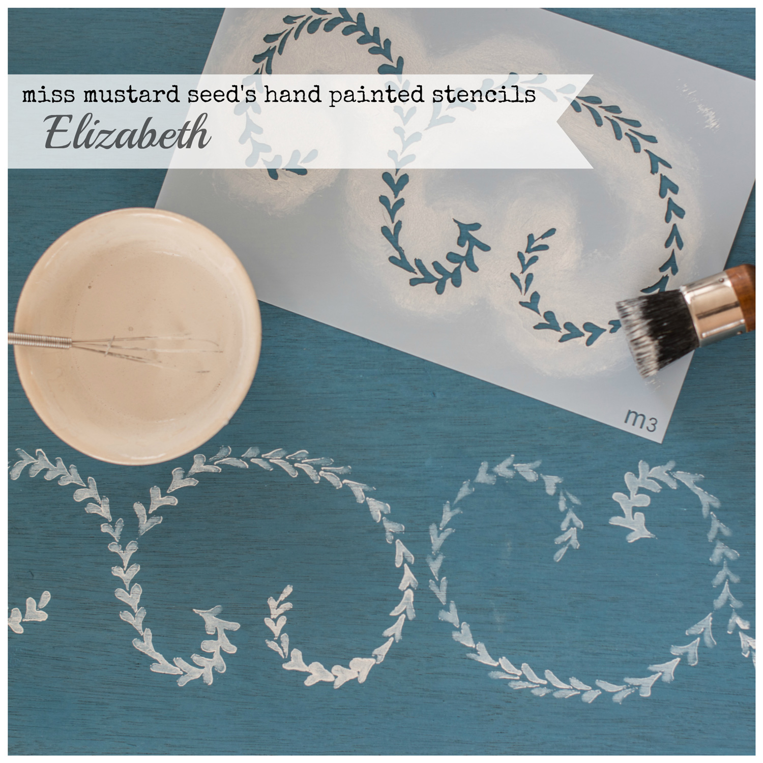 Miss Mustard Seed's hand painted stencils are available at My Painted Door. This stencil is the Elizabeth design.