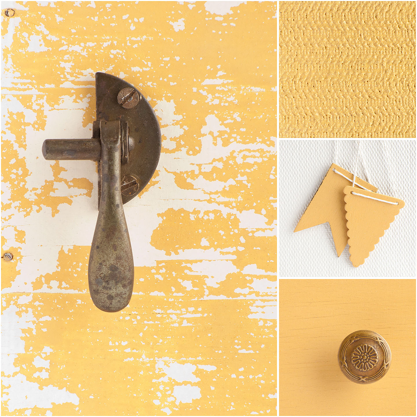 """Mustard Seed Yellow is a warm, buttery yellow. It's bright without being too bold and it's a perfect """"happy yellow.""""  Mix it with Tricycle for varying shades of coral. It pairs well with Shutter Gray and Lucketts Green."""