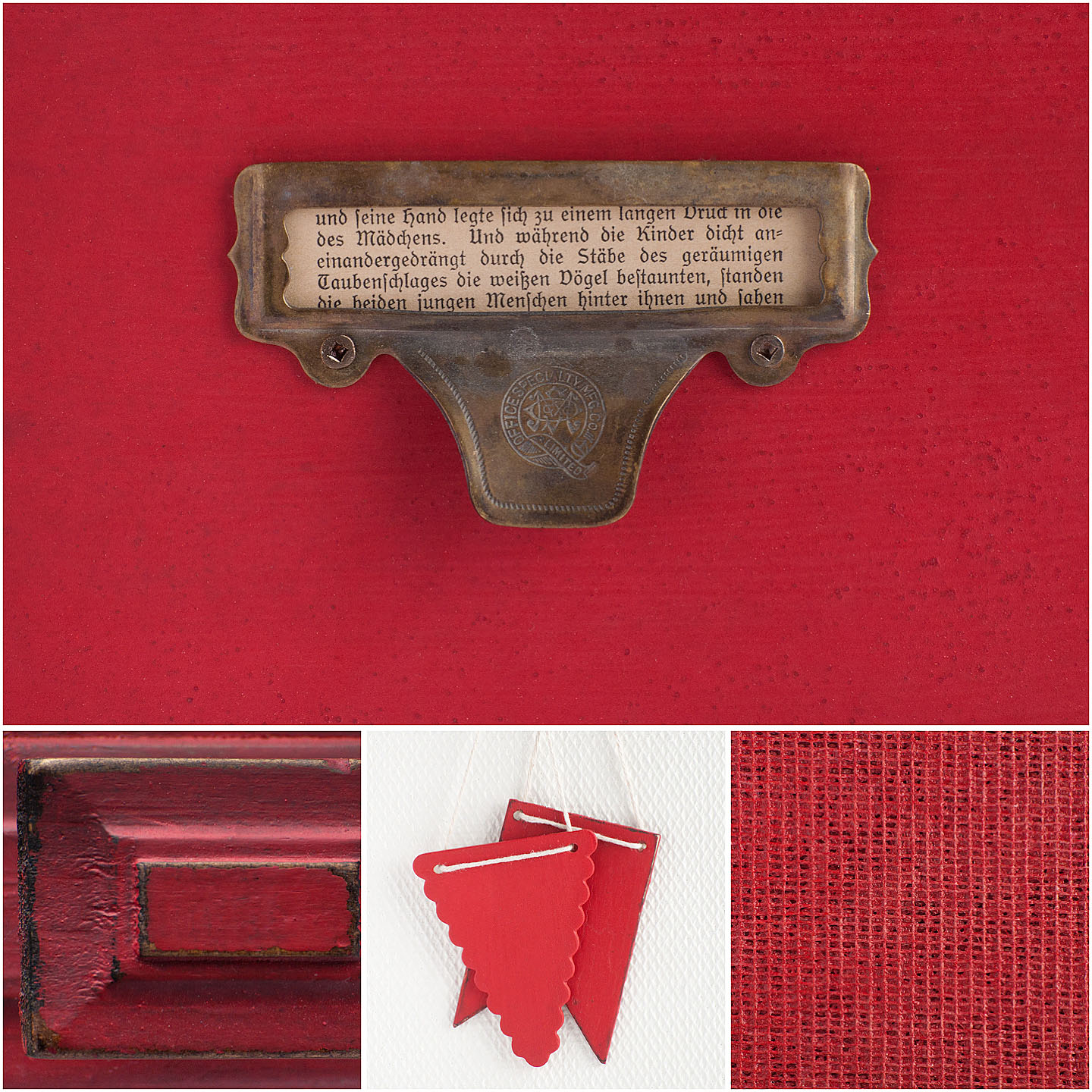 Tricycle is the perfect red. It's bold and bright, but still has a warm, classic look to it. When Marian was naming the red in her line, Tricycle immediately came to mind.  Mix it with Ironstone to get varying shades of pink and with Curio to make a deeper barn red.