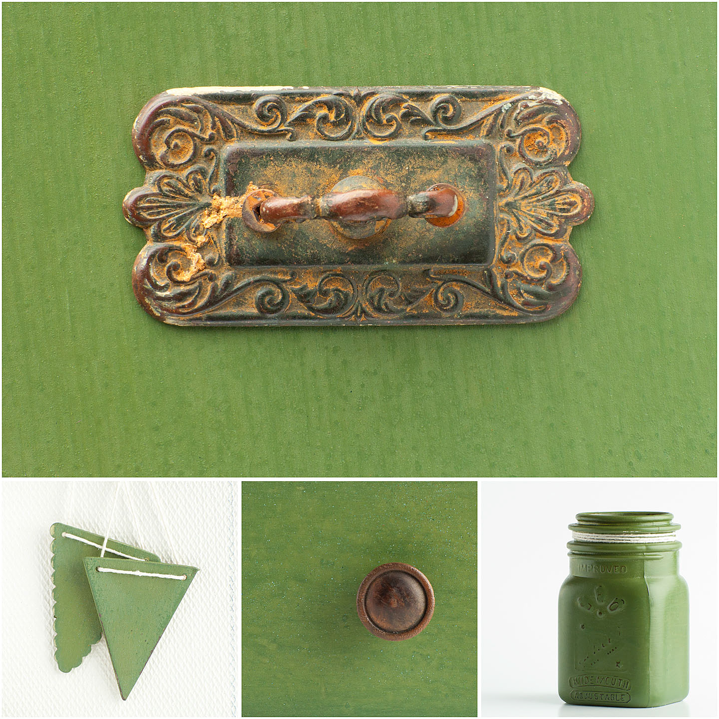Boxwood is our rich, dark grassy green. Depending on the finish used on the piece, it can look bright and bold or subtle – more like a muted olive. Boxwood is named for the preserved boxwood wreaths and topiaries Marian uses in her interiors.  Boxwood mixes well with Grain Sack to create a pale aqua. Layer under Lucketts Green for a two-toned, monochromatic look.