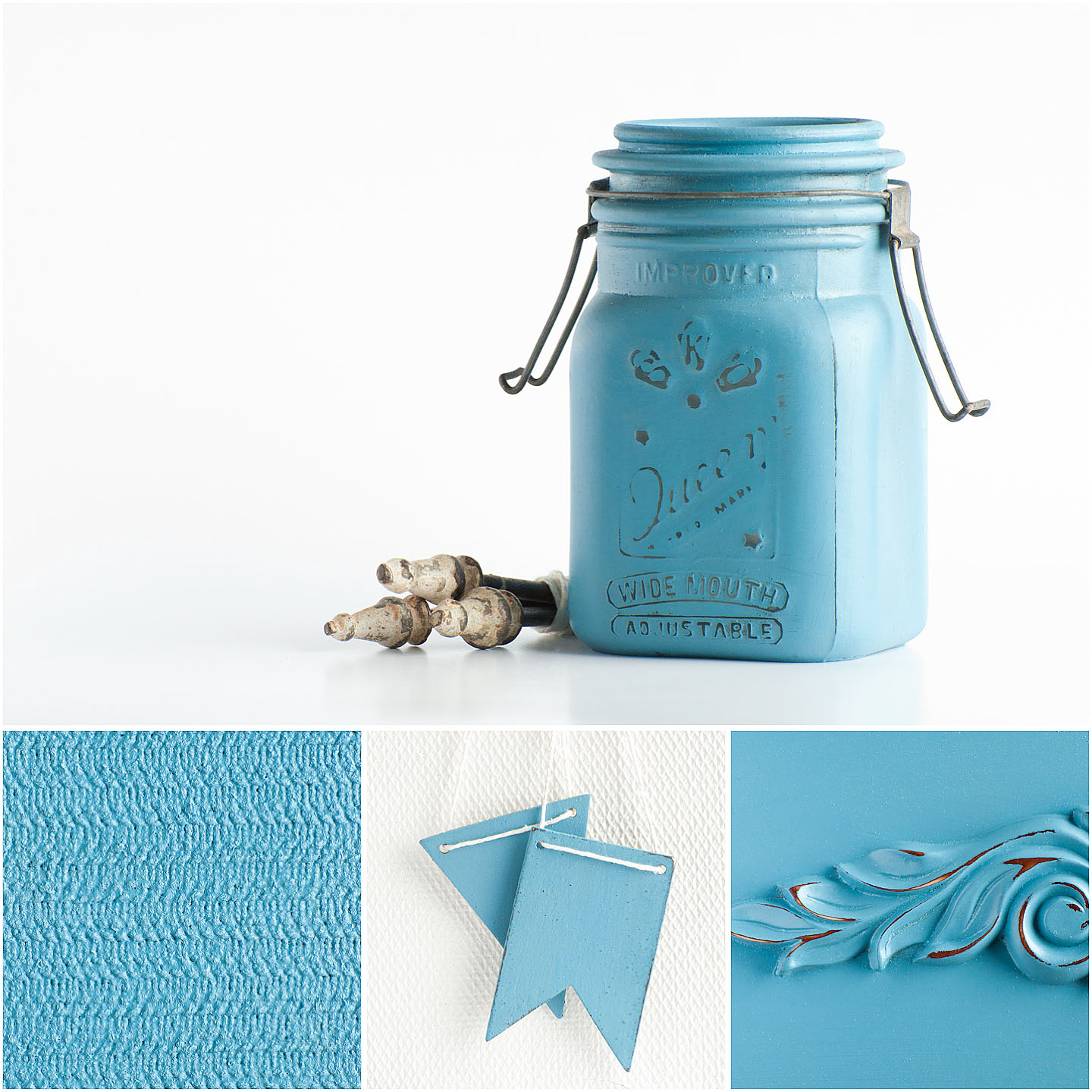 French Enamel is named for the French enamelware pitchers Marian has always admired in antique stores and magazines. The colour is a vibrant, mid-tone blue.  Mix it with Tricycle for a vibrant purple or Typewriter for a darker, more muted blue. It pairs well with Flow Blue and Mustard Seed Yellow.
