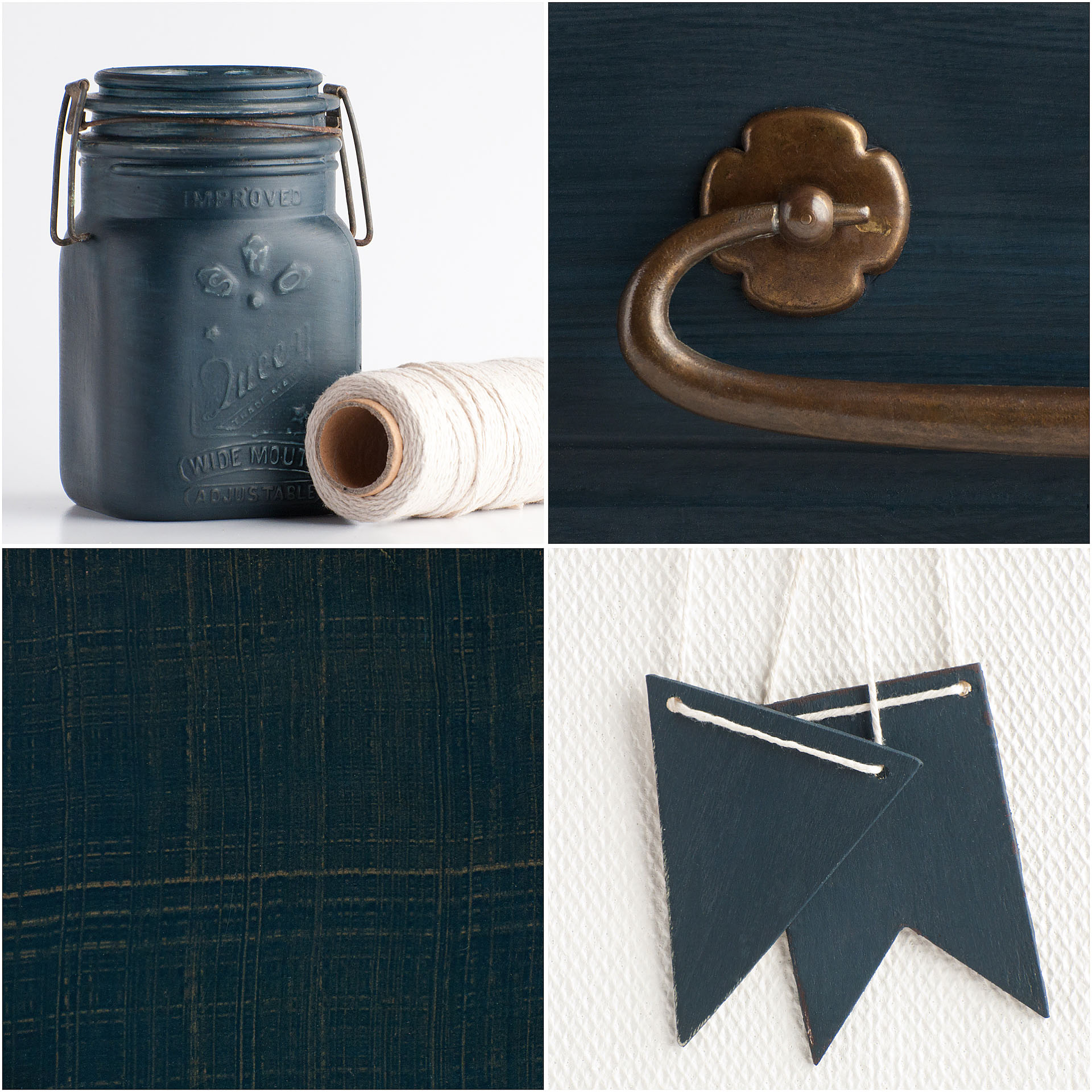 Artissimo is our navy/midnight blue named for the blue and white fabric Marian used in her master suite. Depending on the finish, it can look like a brighter royal blue or almost black.  Artissimo pairs well with Boxwood and the other blues in our line.