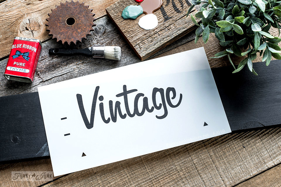 Vintage Market stencilled on salvaged wood. Funky Junk's Old Sign Stencils are available at My Painted Door.