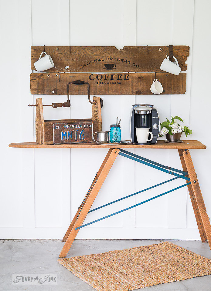 National Brewers Coffee stencilled on salvaged wood. Funky Junk's Old Sign Stencils are available at My Painted Door.