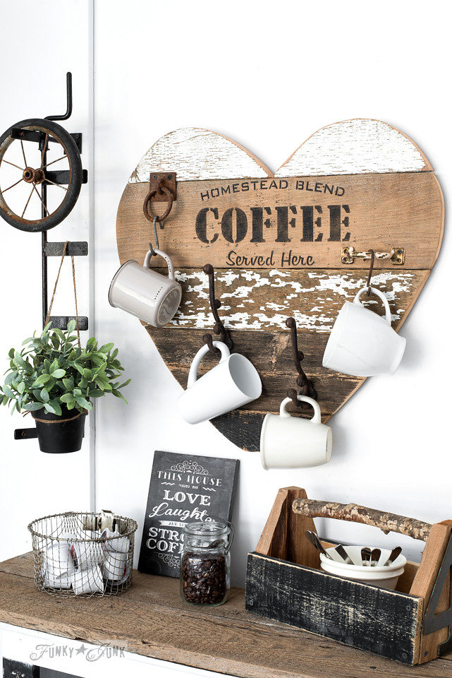 Homestead Blend Coffee stencilled on salvaged wood made into a heart. Funky Junk's Old Sign Stencils are available at My Painted Door.