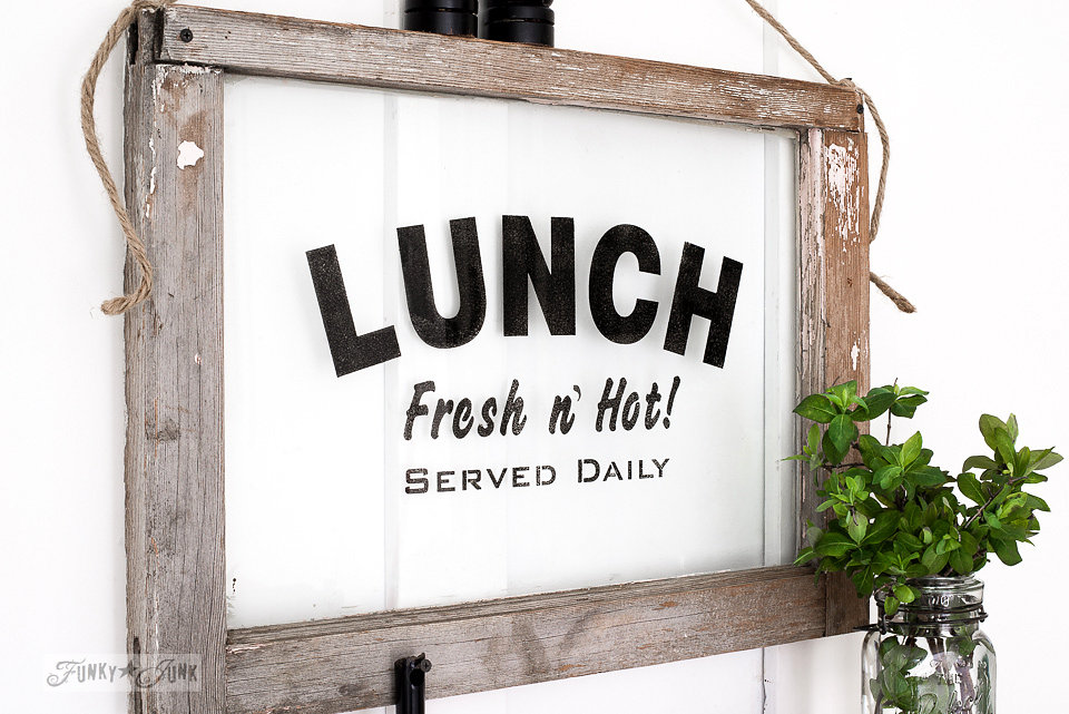Lunch stencil on an old window. Funky Junk Old Sign Stencils - available at My Painted Door.